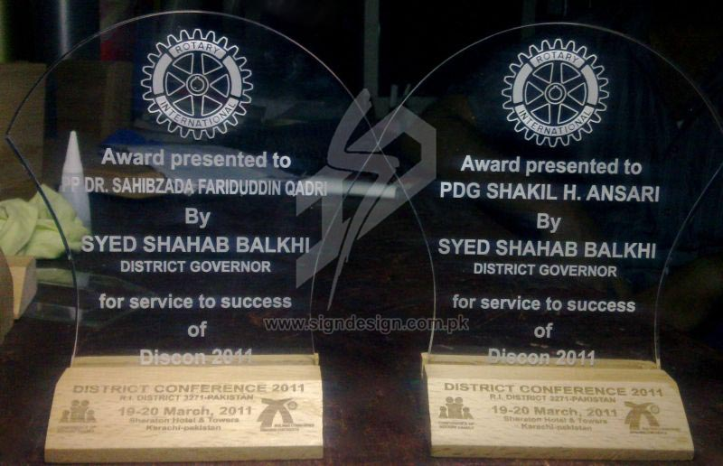 Engraved Acrylic Awards Rotary International