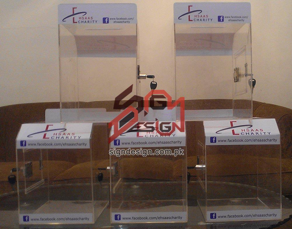 Ehsaas Charity Acrylic Drop Boxes