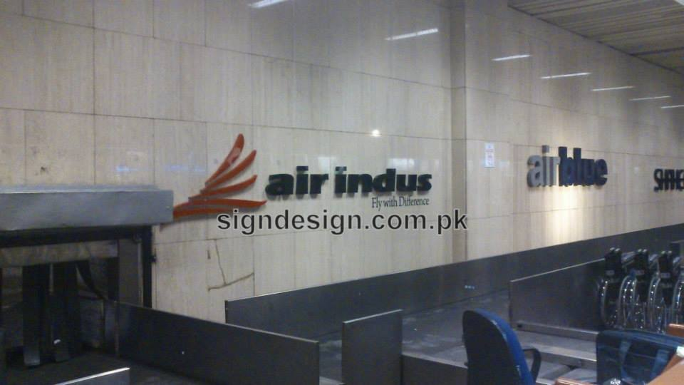 Air Indus 3D Sign at Karachi Airport